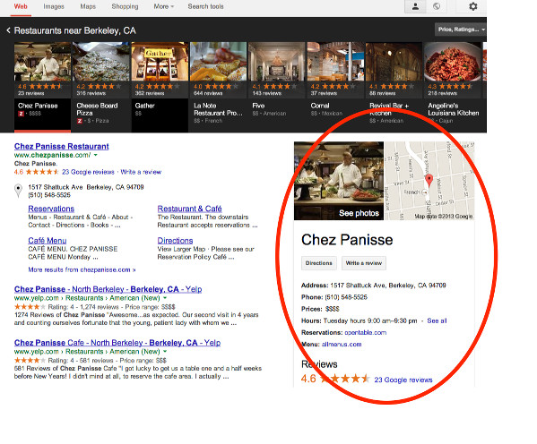 Google local search knowledge panel